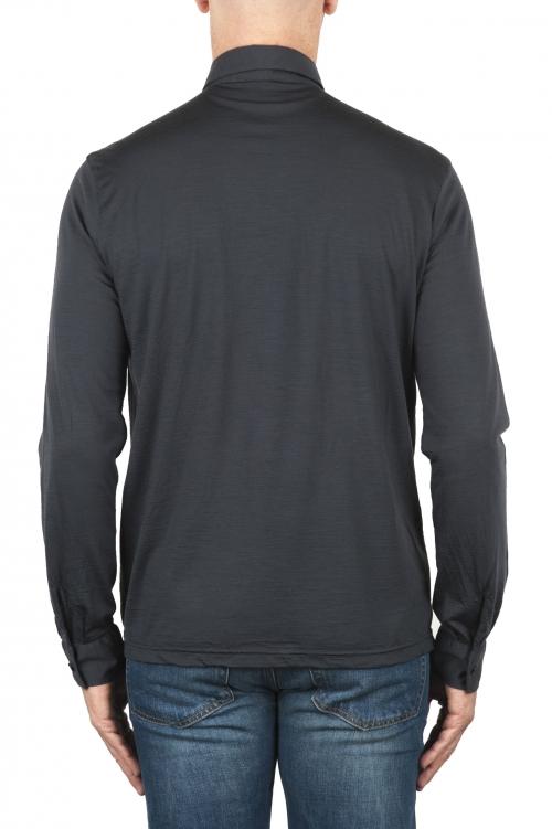 SBU 01909_19AW Polo a maniche lunghe in lana merino extra fine grigia 01