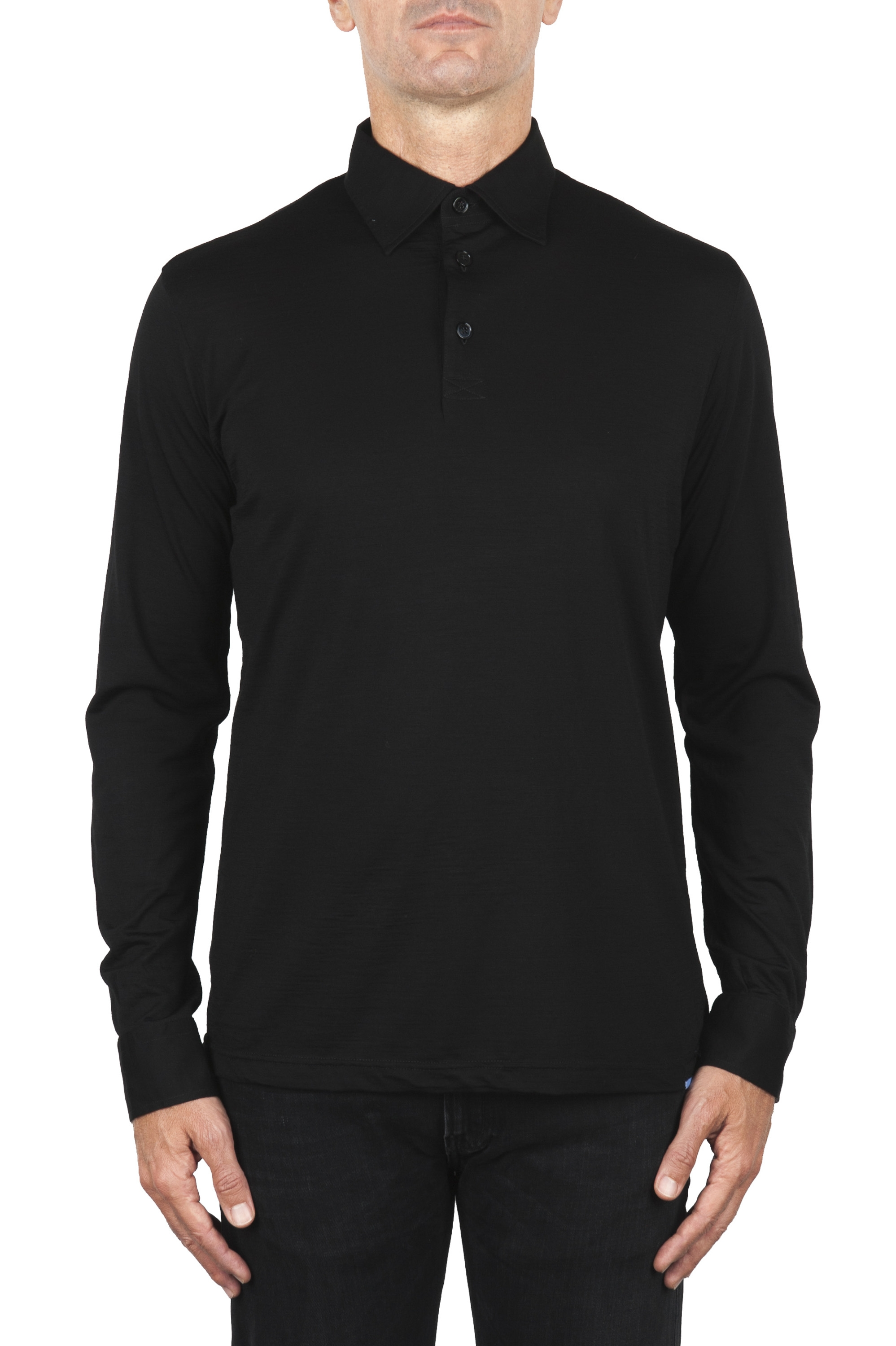 SBU 01910_19AW Classic long sleeve black merino extra fine polo shirt  01