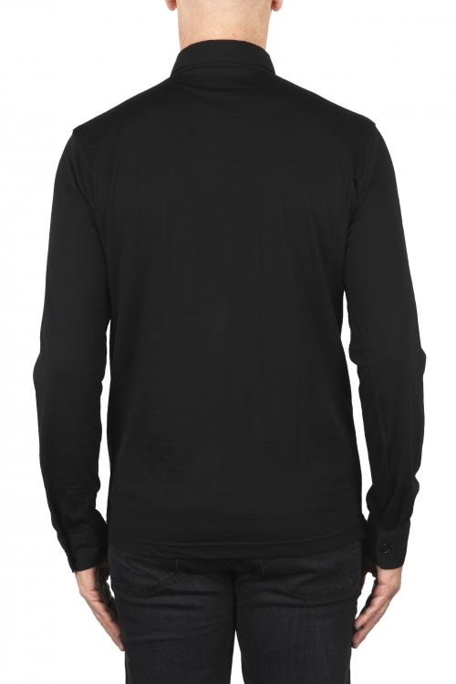 SBU 01910_19AW Classic long sleeve black merino extra fine polo shirt  01