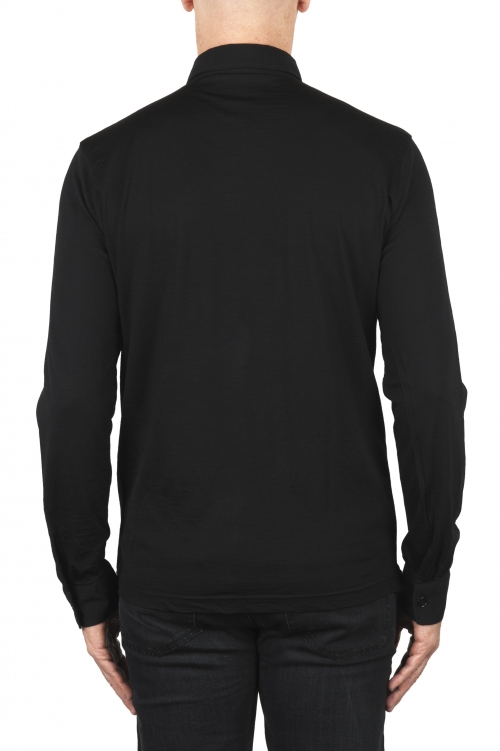 SBU 01910_19AW Polo a maniche lunghe in lana merino extra fine nera 01