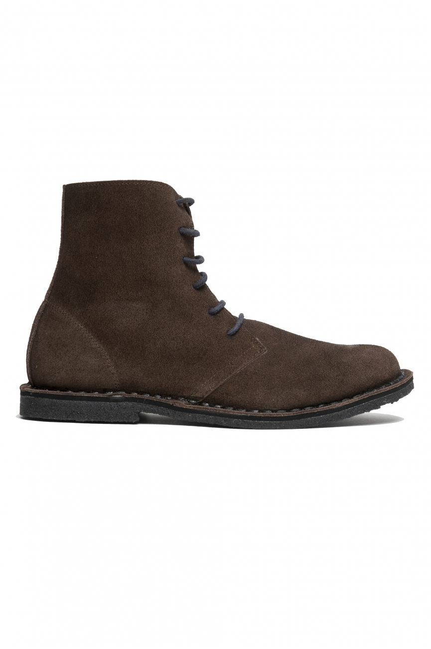 SBU 01912_19AW High top desert boots in brown suede leather 01
