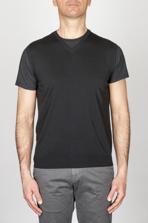 Classic V Neck Cotton Knit Black Sleeveless Sweater Vest