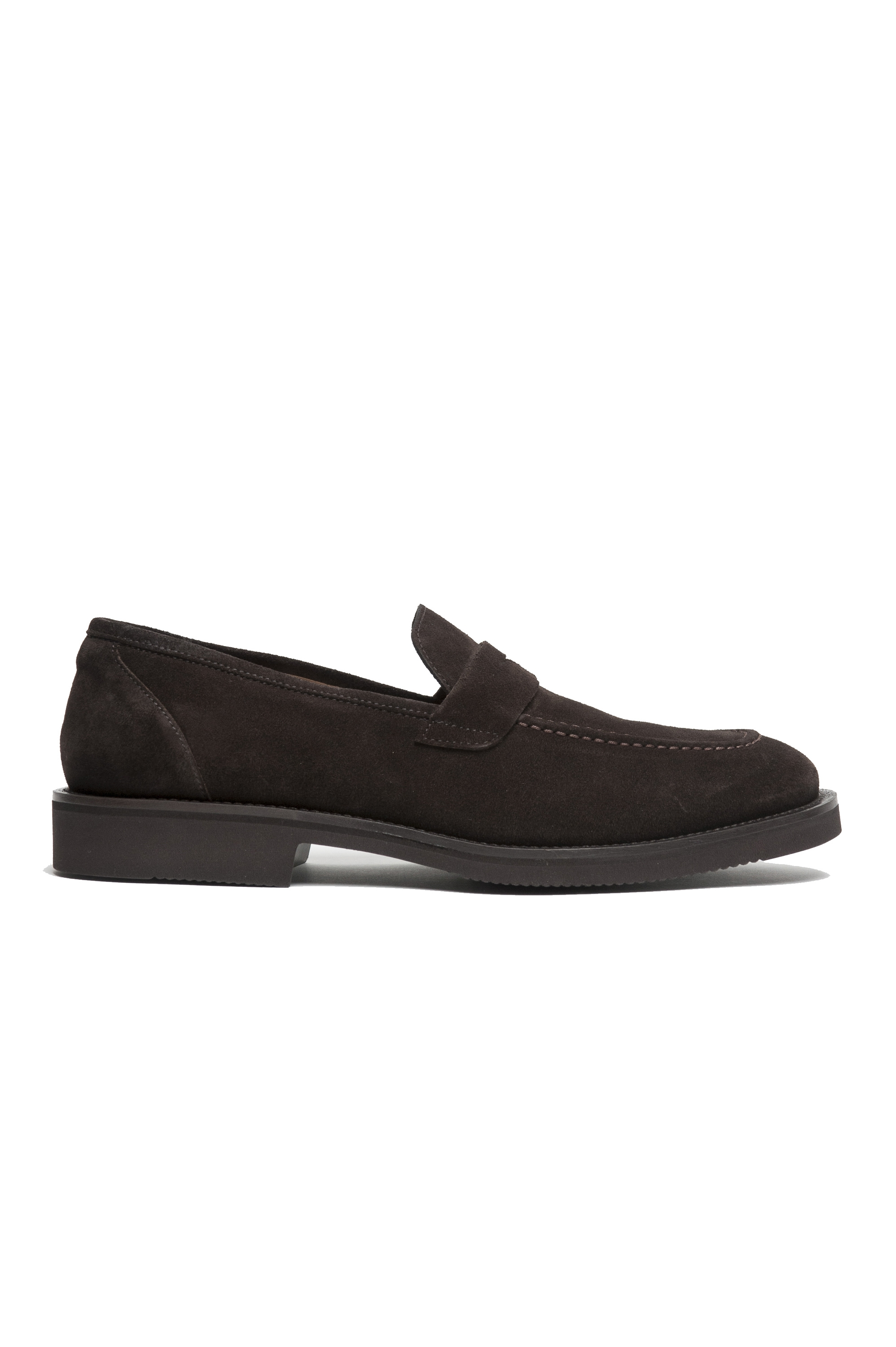 SBU 01915_19AW Brown plain suede calfskin loafers with rubber sole  01