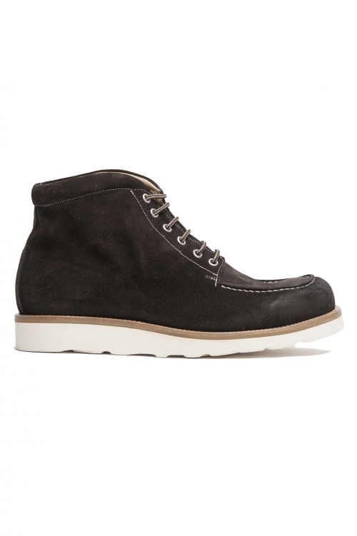 SBU 01917_19AW High top work boots in brown suede leather 01
