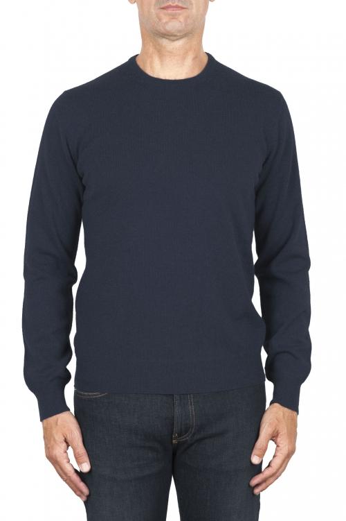 SBU 01919_19AW Suéter con cuello redondo de pura cachemira azul avion  01
