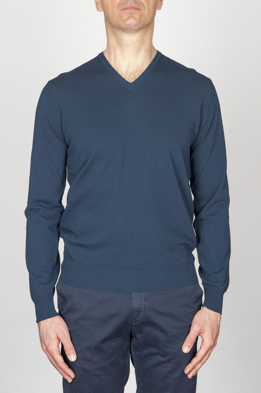Classic V Neck Sweater In Blue Cotton