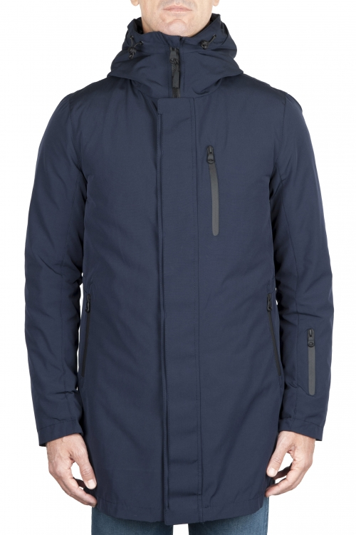 SBU 01581_19AW Parka térmica larga impermeable y chaqueta de plumón desmontable azul 01