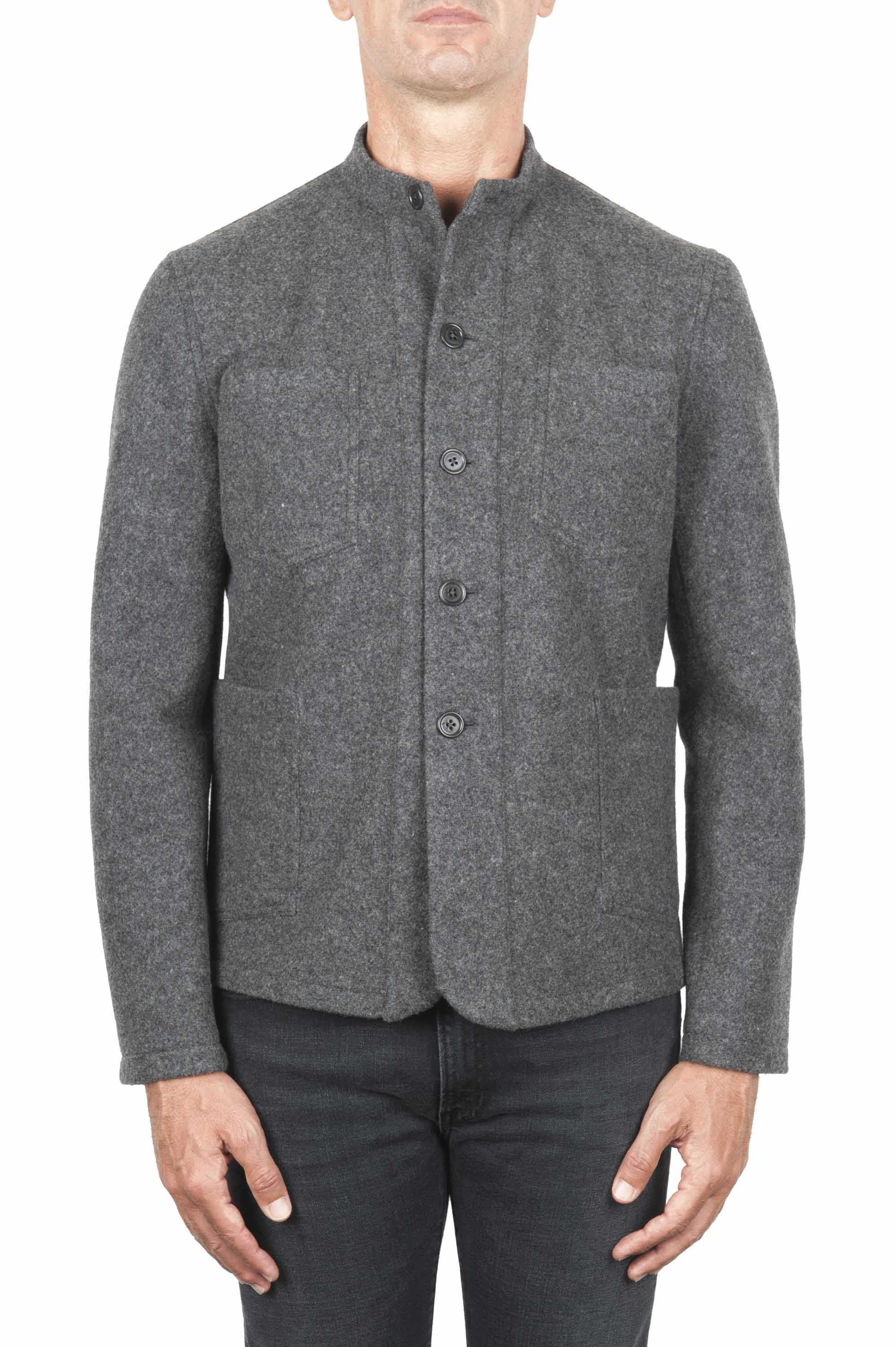 SBU 01326_19AW Grey mandarin collar sartorial work jacket 01