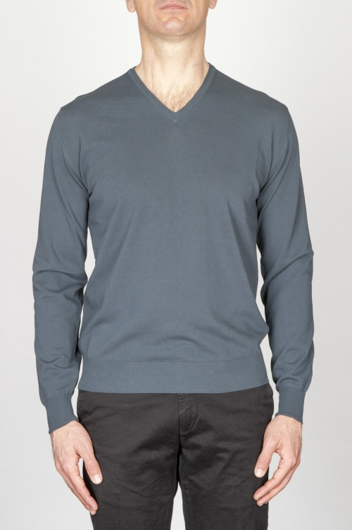 SBU - Strategic Business Unit - グレーの綿の古典的なvネックのセーター