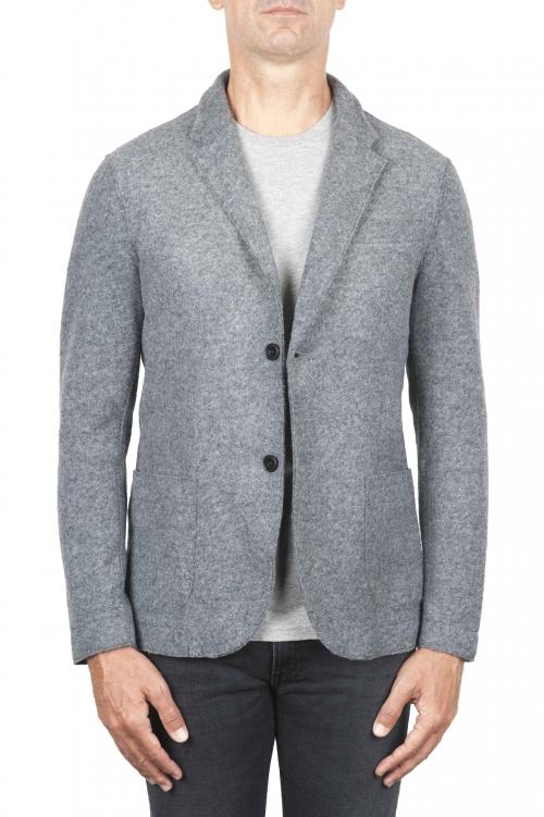 SBU 01336_19AW Chaqueta deportiva gris en mezcla de lana desestructurada y sin forro 01