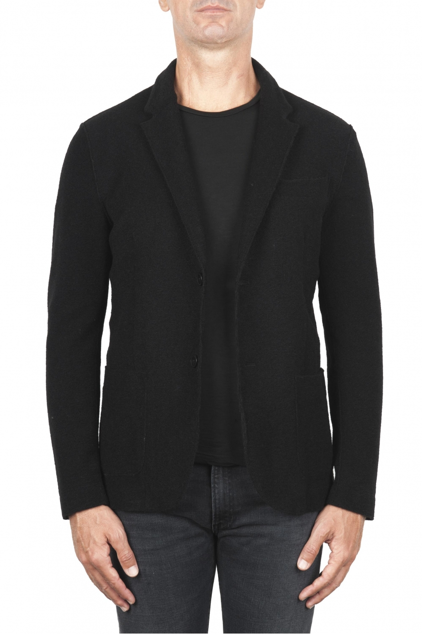 SBU 01337_19AW Chaqueta deportiva negra en mezcla de lana desestructurada y sin forro 01
