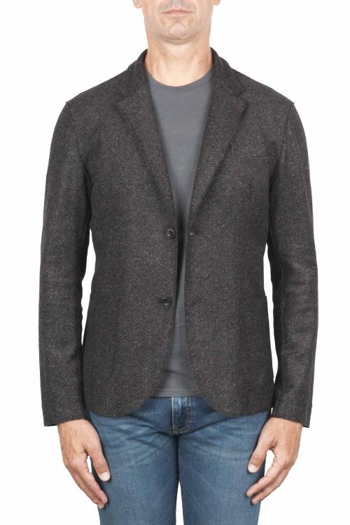 SBU 01442_19AW Chaqueta deportiva marrón en mezcla de lana desestructurada y sin forro 01