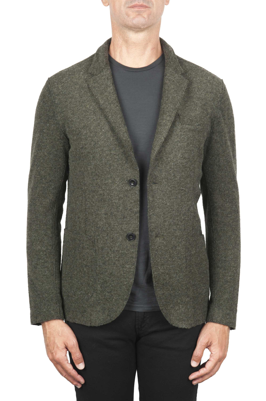 SBU 01443_19AW Chaqueta deportiva verde en mezcla de lana desestructurada y sin forro 01