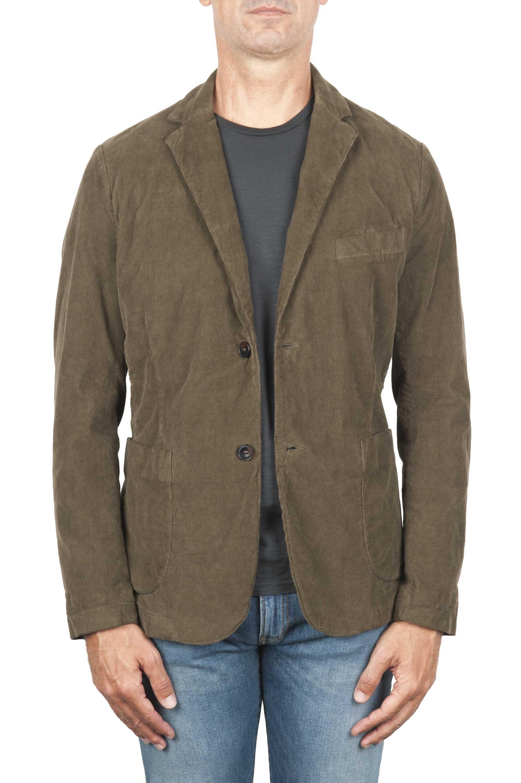 SBU 01447_19AW Blazer deportivo verde de algodón elástico desestructura y sin forro 01