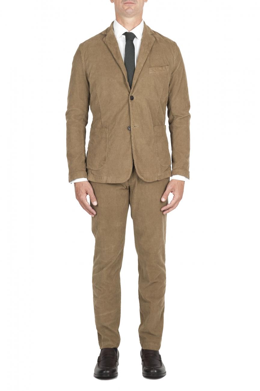 SBU 01550_AW19 Abito in velluto elasticizzato a coste beige completo di giacca e pantalone 01