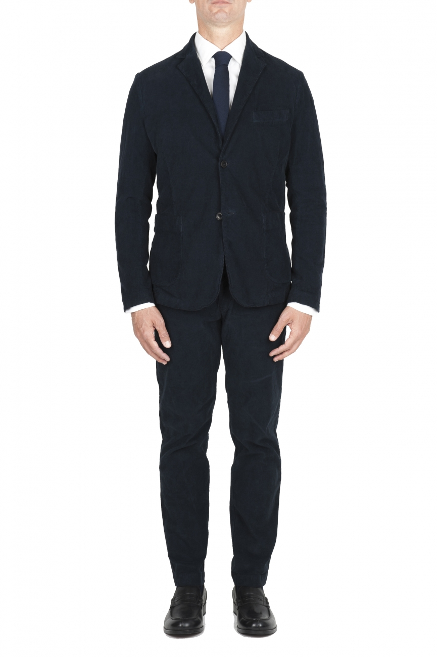 SBU 01551_19AW Blue stretch corduroy sport suit blazer and trouser 01