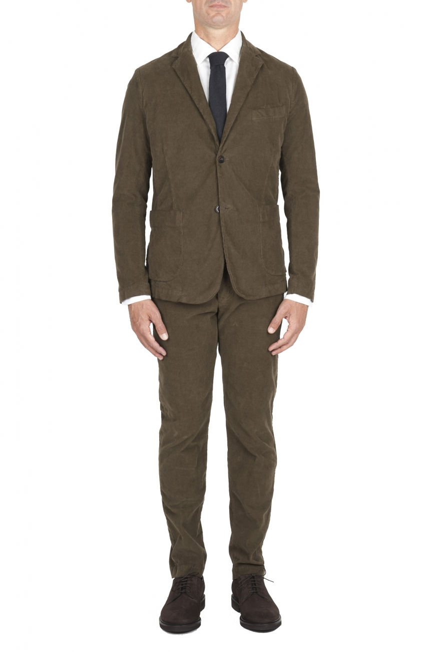 SBU 01552_19AW Abito in velluto elasticizzato a coste verde completo di giacca e pantalone 01