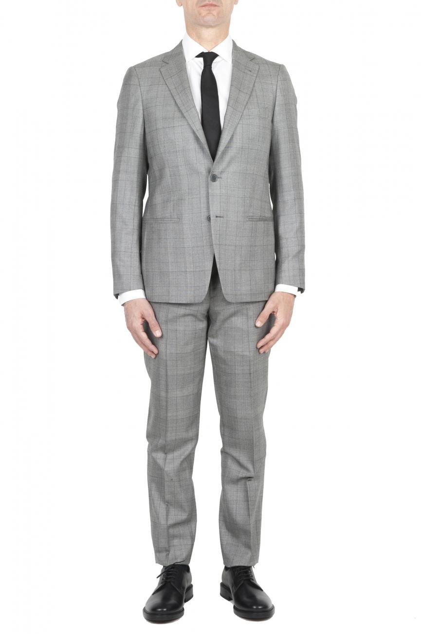 SBU 01588_19AW Abito grigio principe di Galles in fresco lana completo giacca e pantalone 01