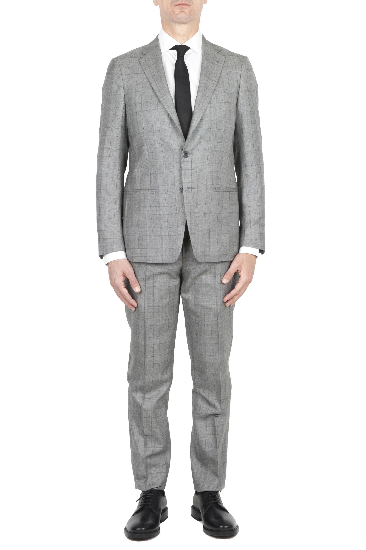 SBU 01588_19AW Blazer y pantalón de traje formal Principe de gales en lana fresca gris 01