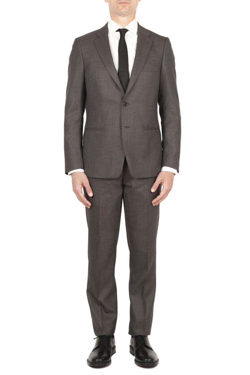 SBU 01589_19AW Abito marrone in fresco lana completo giacca e pantalone occhio di pernice 01