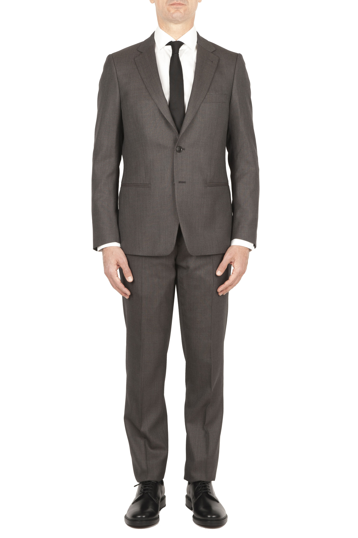 SBU 01589_19AW Veste et pantalon de costume formel en laine vierge brune perdrix  01