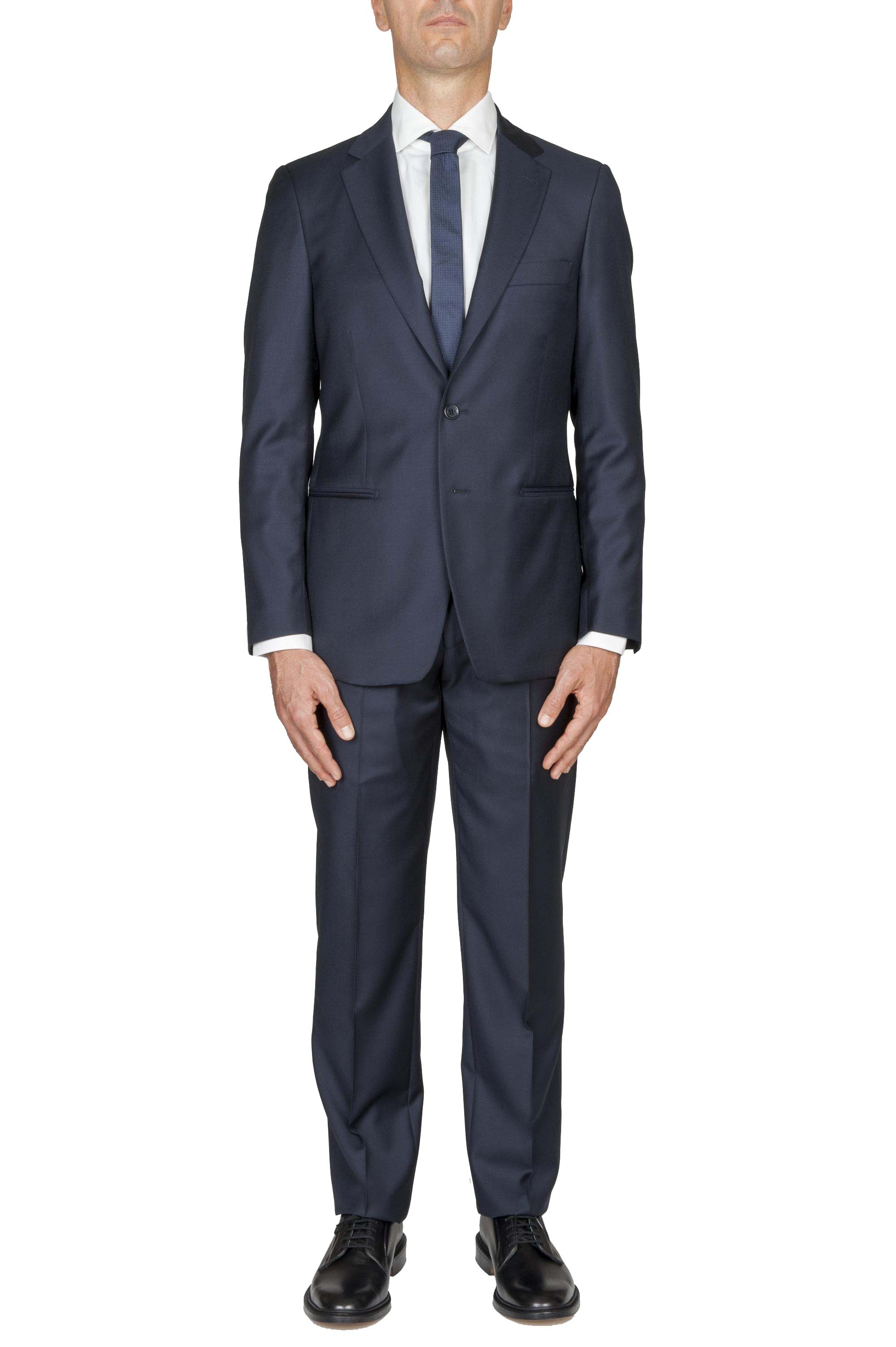 SBU 01056_19AW Men's blue cool wool formal suit blazer and trouser 01