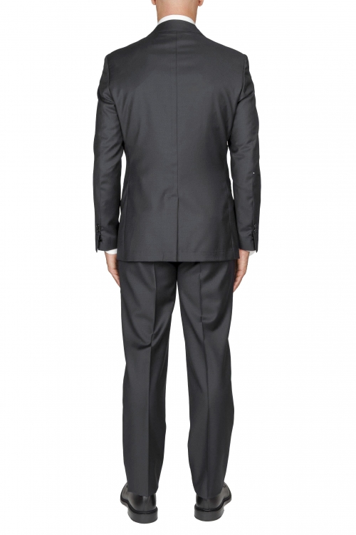 SBU 01057_19AW Blazer y pantalón formal de lana fresca gris para hombre 01