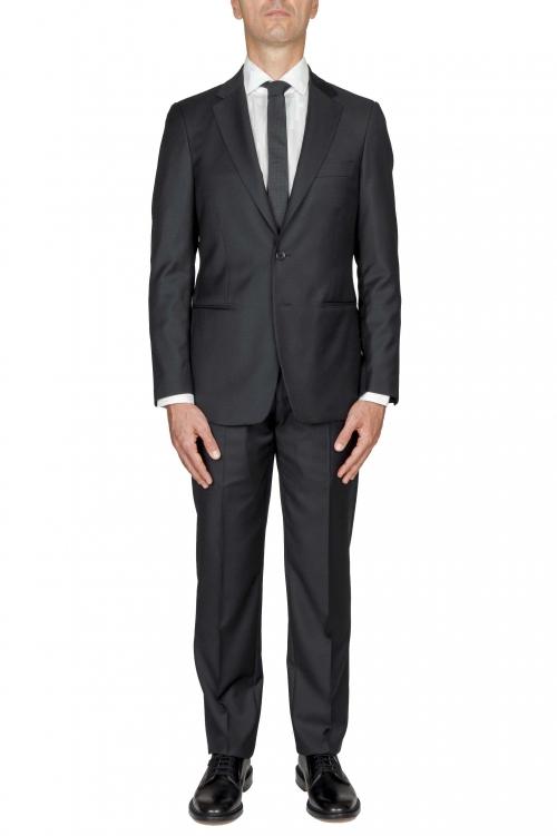 SBU 01058_19AW Blazer et pantalon de costume noir en fresco de laine pour hommes 01