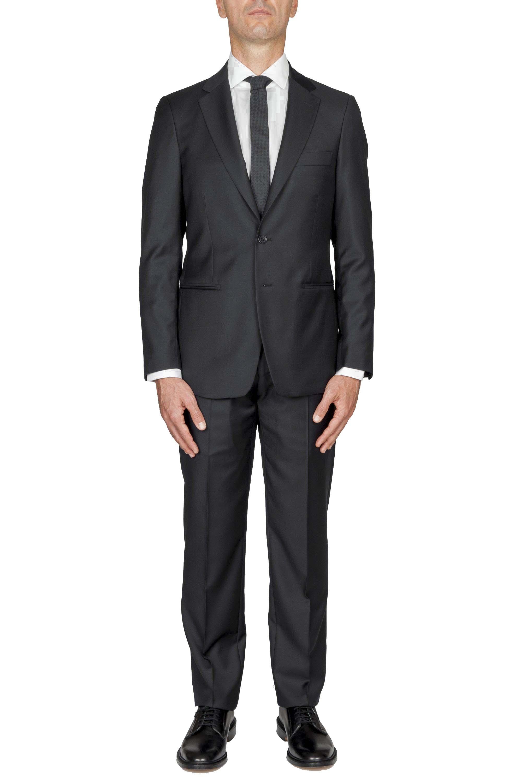 SBU 01058_19AW Abito nero in fresco lana completo giacca e pantalone 01