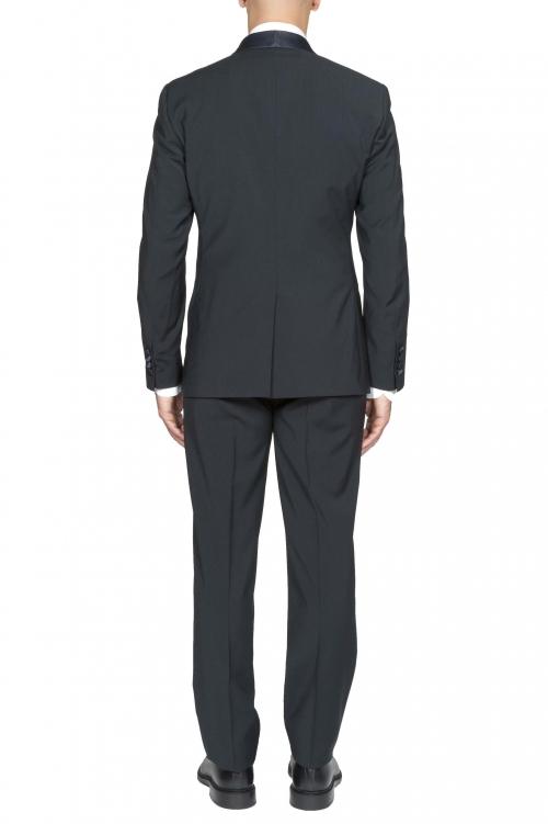 SBU 01059_19AW Abito smoking blue in lana giacca e pantalone 01