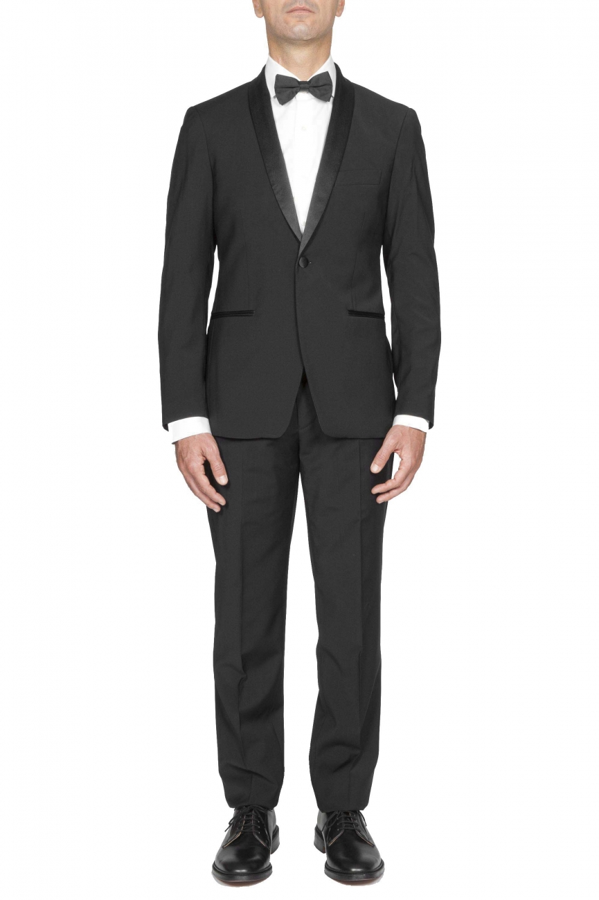 SBU 01060_19AW Black wool tuxedo jacket and trouser 01