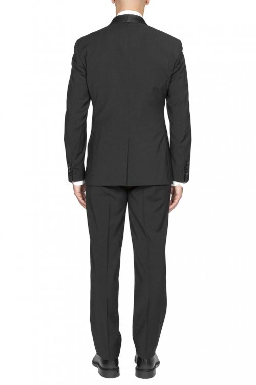 SBU 01060_19AW Abito smoking nero in lana giacca e pantalone 01
