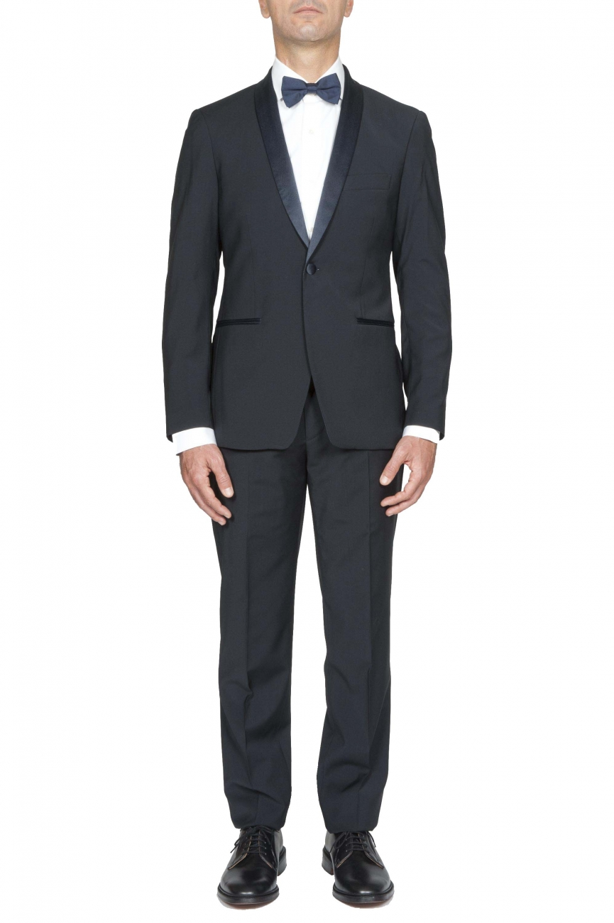 SBU 01061_19AW Blouson et pantalon de smoking en laine bleue marine 01