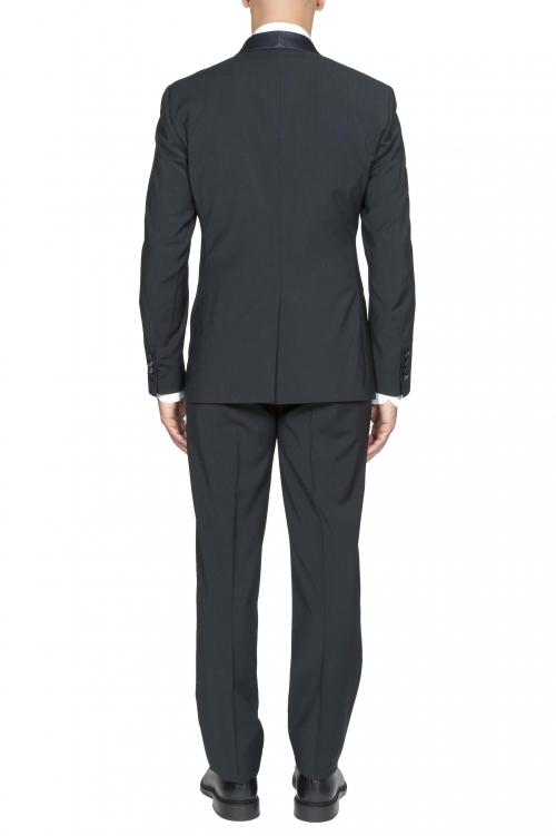SBU 01061_19AW ブルーネイビーウールのタキシードジャケットとズボン 01