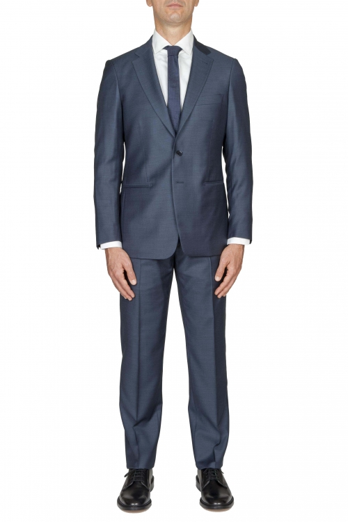 SBU 01050_19AW Men's blue cool wool formal suit blazer and trouser 01