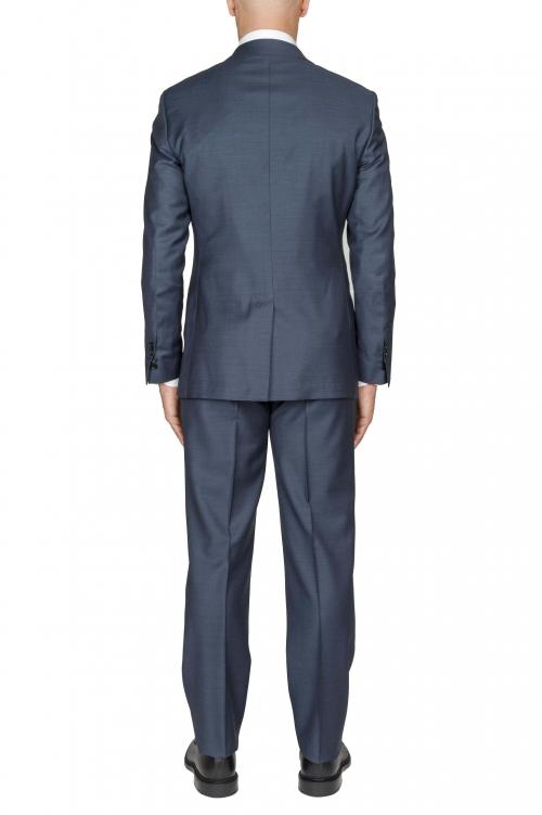 SBU 01050_19AW Blazer et pantalon de costume bleu en fresco de laine pour hommes 01