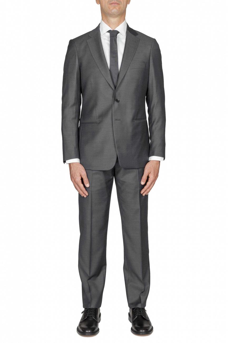 SBU 01051_19AW Blazer et pantalon de costume gris en fresco de laine pour hommes 01