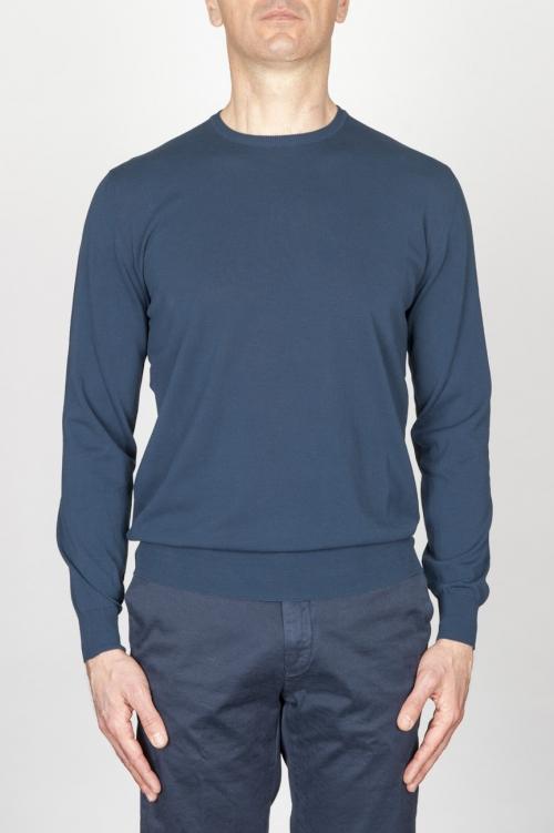 Classic Crew Neck Sweater In Blue Cotton
