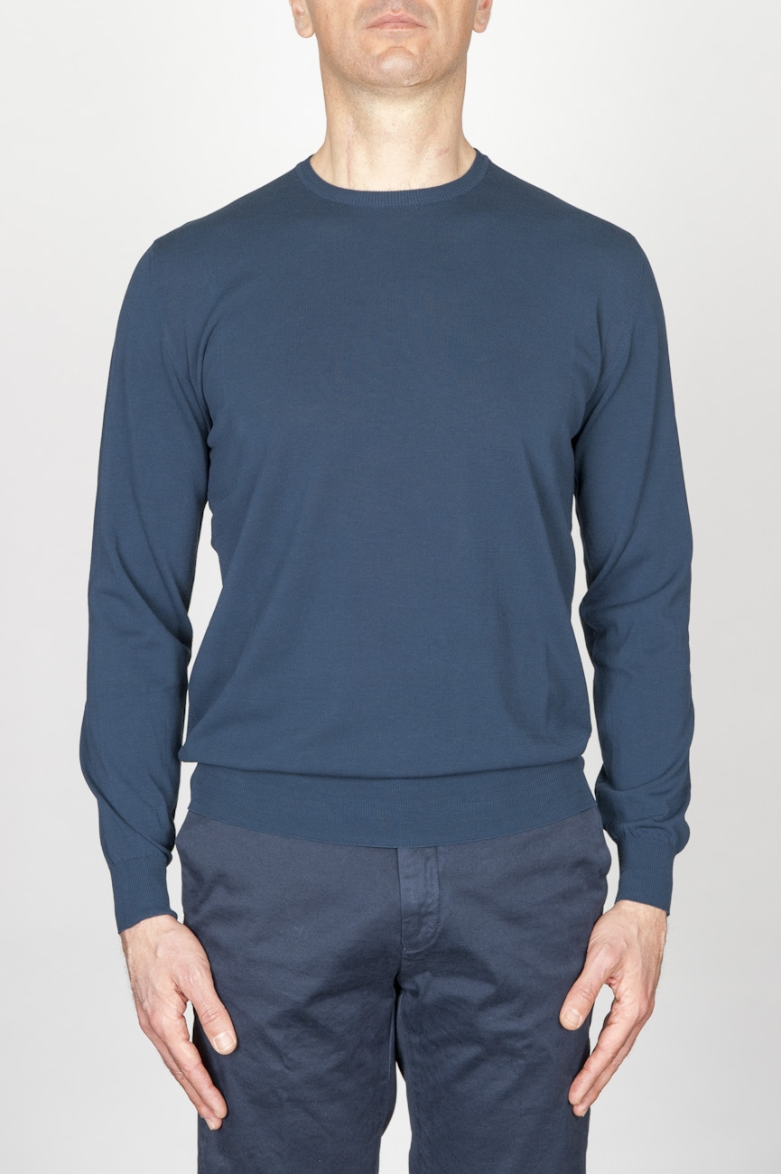Classic Crew Neck Sweater In Blue Cotton