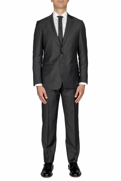 SBU 01052_19AW Men's black cool wool formal suit blazer and trouser 01