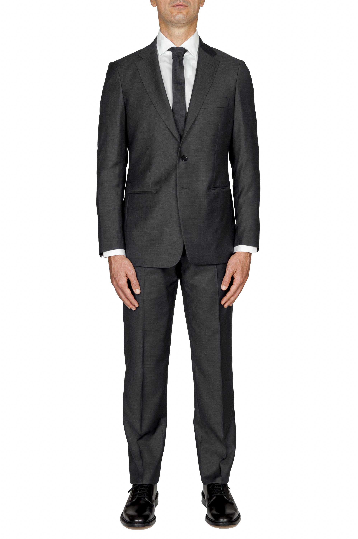 SBU 01052_19AW Blazer et pantalon de costume noir en fresco de laine pour hommes 01