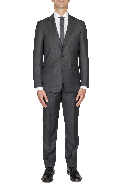 SBU 01054_19AW Blazer et pantalon de costume gris en fresco de laine oeil de perdrix pour hommes 01
