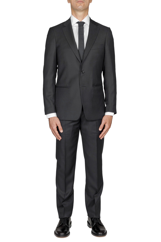 SBU 01055_19AW Blazer et pantalon de costume gris foncé en fresco de laine oeil de perdrix pour hommes 01
