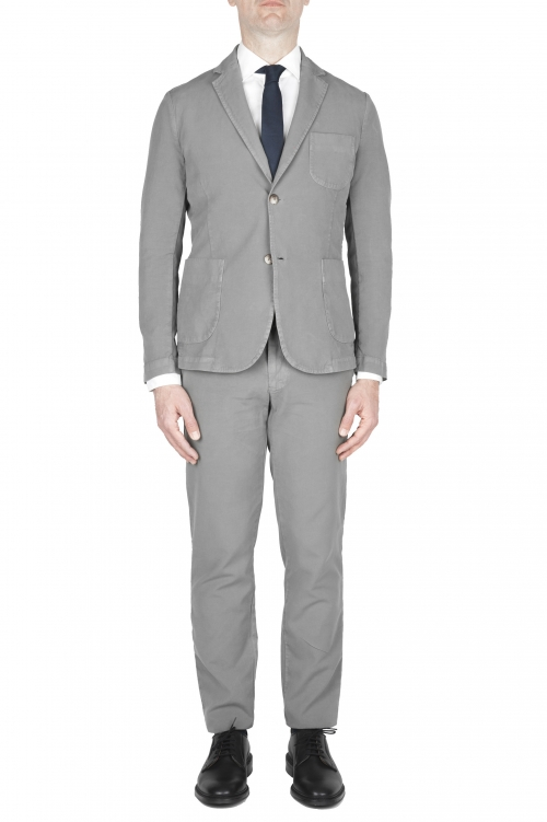 SBU 01743_19AW Grey cotton sport suit blazer and trouser 01