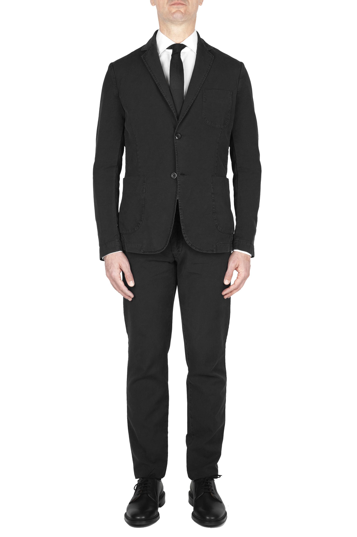 SBU 01744_19AW Blazer y pantalón de traje deportivo de algodón negro 01