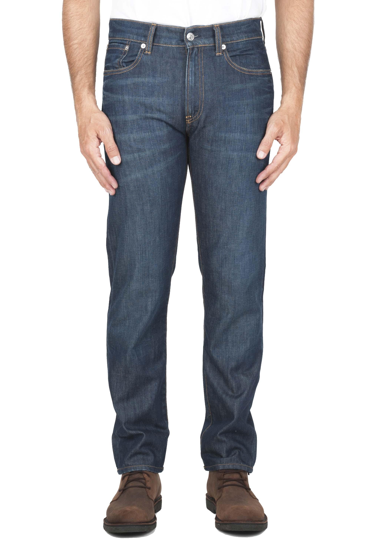 SBU 01448_19AW Stone washed organic cotton denim blue jean 01