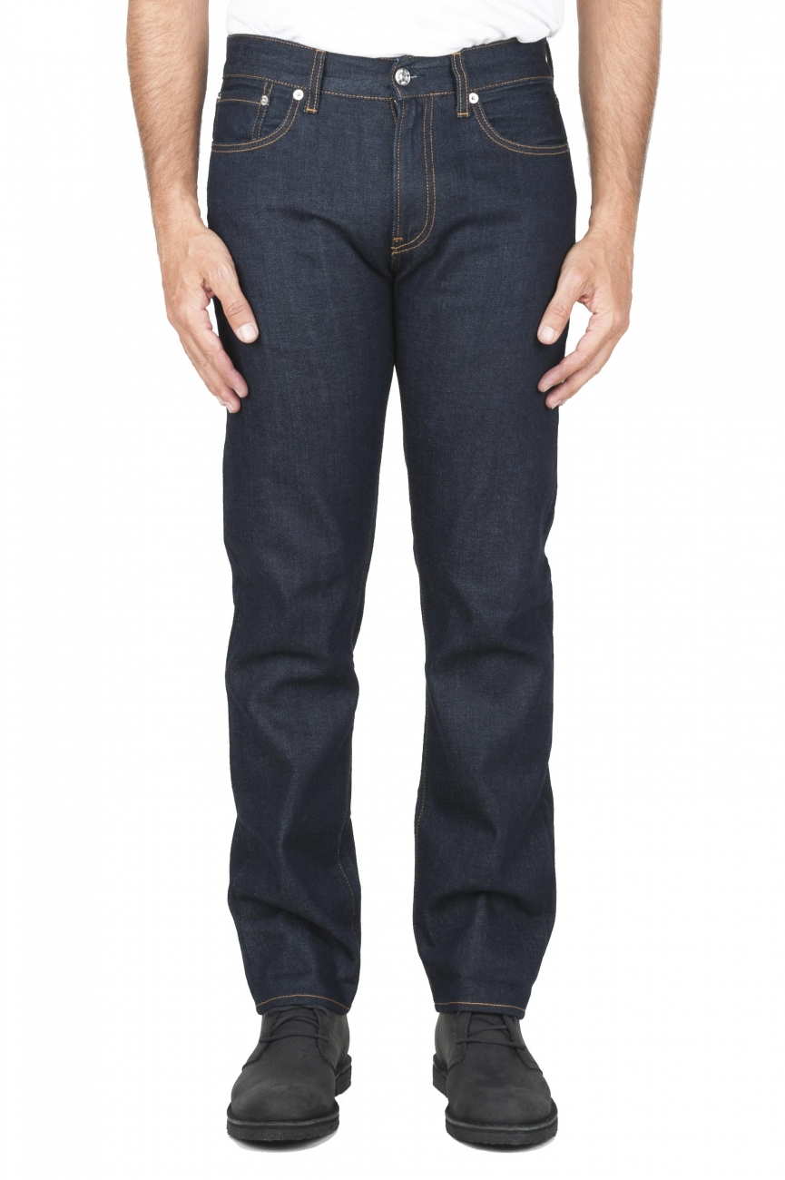 SBU 01449_19AW Pantalones vaqueros azules de Denim japonés lavados teñidos añil natural 01