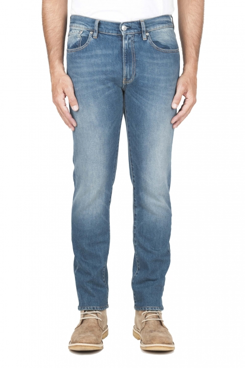 SBU 01450_19AW Jeans elasticizzato in puro indaco naturale stone bleached 01