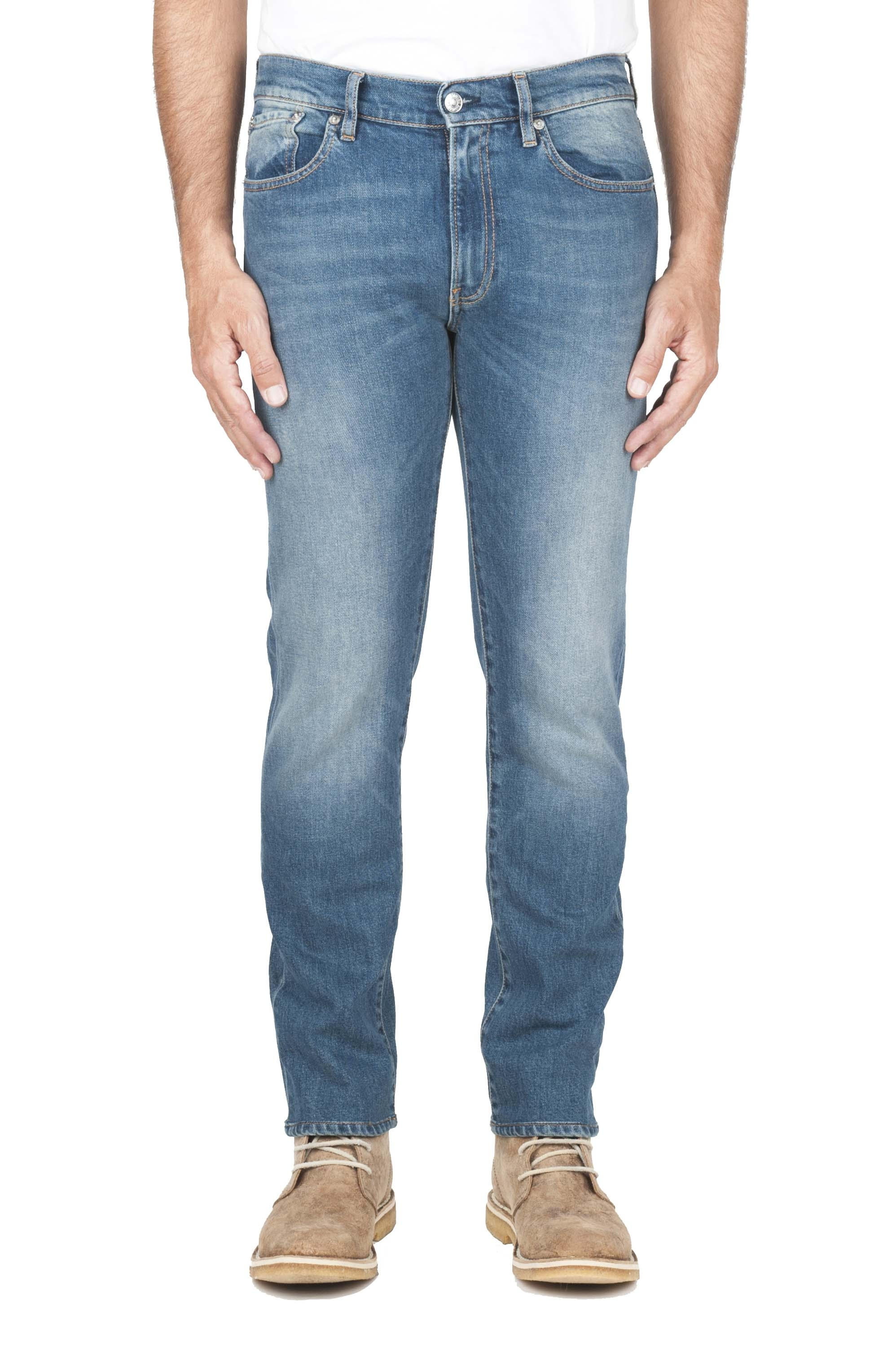 SBU 01450_19AW Pure indigo dyed stone bleached stretch cotton blue jeans 01