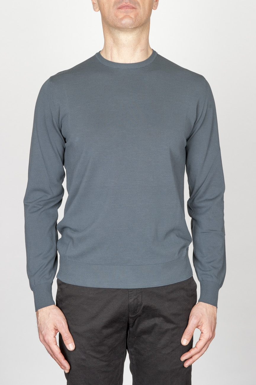 Classic Crew Neck Sweater In Grey Cotton